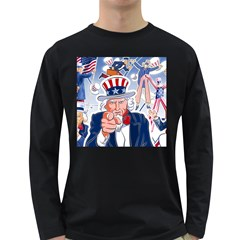United States Of America Celebration Of Independence Day Uncle Sam Long Sleeve Dark T Shirts by Onesevenart