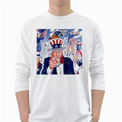 United States Of America Celebration Of Independence Day Uncle Sam White Long Sleeve T Shirts by Onesevenart