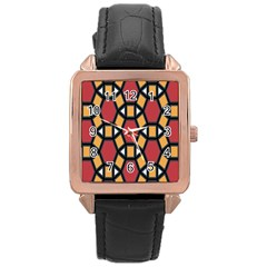 Circle Ball Red Yellow Rose Gold Leather Watch  by AnjaniArt