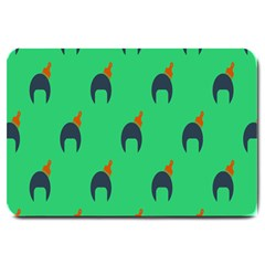 Comb Disco Green Large Doormat  by AnjaniArt