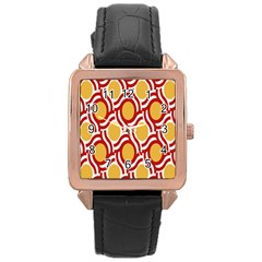 Circle Orange Red Rose Gold Leather Watch  by AnjaniArt