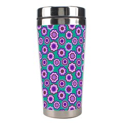 Clipart Floral Pattern Flower Purple Green Stainless Steel Travel Tumblers by AnjaniArt