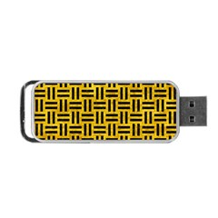 Woven1 Black Marble & Yellow Marble (r) Portable Usb Flash (two Sides) by trendistuff