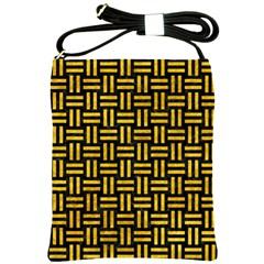 Woven1 Black Marble & Yellow Marble Shoulder Sling Bag by trendistuff