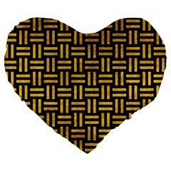 Woven1 Black Marble & Yellow Marble Large 19  Premium Flano Heart Shape Cushion by trendistuff