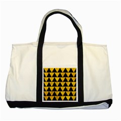 Triangle2 Black Marble & Yellow Marble Two Tone Tote Bag by trendistuff