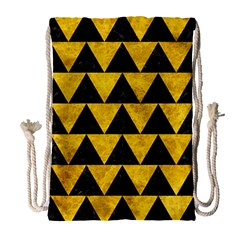 Triangle2 Black Marble & Yellow Marble Drawstring Bag (large) by trendistuff