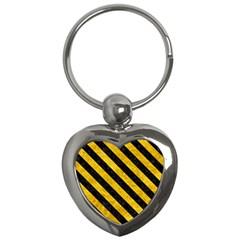 Stripes3 Black Marble & Yellow Marble (r) Key Chain (heart) by trendistuff
