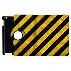 Stripes3 Black Marble & Yellow Marble Apple Ipad 3/4 Flip 360 Case by trendistuff