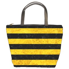 Stripes2 Black Marble & Yellow Marble Bucket Bag by trendistuff