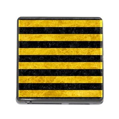 Stripes2 Black Marble & Yellow Marble Memory Card Reader (square) by trendistuff