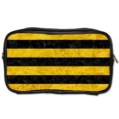 Stripes2 Black Marble & Yellow Marble Toiletries Bag (one Side) by trendistuff