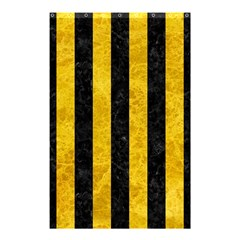 Stripes1 Black Marble & Yellow Marble Shower Curtain 48  X 72  (small) by trendistuff