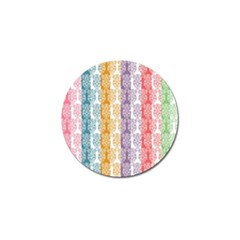 Digital Print Scrapbook Flower Leaf Color Green Red Purple Yellow Blue Pink Golf Ball Marker (4 Pack) by AnjaniArt