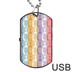 Digital Print Scrapbook Flower Leaf Color Green Red Purple Yellow Blue Pink Dog Tag Usb Flash (one Side) by AnjaniArt