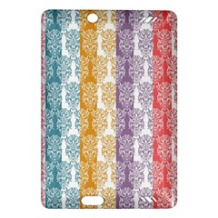Digital Print Scrapbook Flower Leaf Color Green Red Purple Yellow Blue Pink Amazon Kindle Fire Hd (2013) Hardshell Case by AnjaniArt