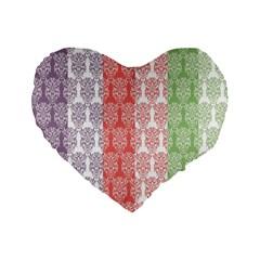 Digital Print Scrapbook Flower Leaf Color Green Red Purple Blue Pink Standard 16  Premium Flano Heart Shape Cushions by AnjaniArt