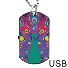 Colorful Peacock Line Dog Tag Usb Flash (one Side) by AnjaniArt