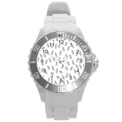 Falling Leaves Round Plastic Sport Watch (l) by AnjaniArt