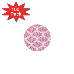 Flower Floral Pink Leafe 1  Mini Buttons (100 pack)  by AnjaniArt