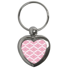 Flower Floral Pink Leafe Key Chains (heart)  by AnjaniArt