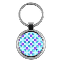 Background Colour Flower Rainbow Key Chains (round)  by AnjaniArt