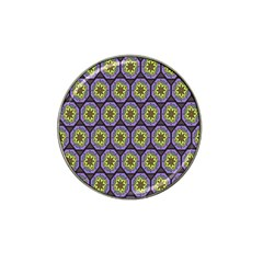 Background Colour Star Flower Purple Yellow Hat Clip Ball Marker (4 Pack) by AnjaniArt
