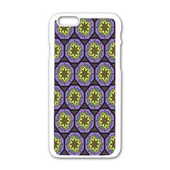 Background Colour Star Flower Purple Yellow Apple Iphone 6/6s White Enamel Case by AnjaniArt