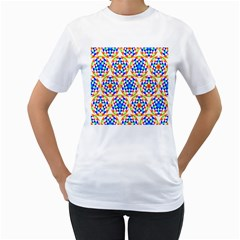 Background Colour Circle Rainbow Women s T Shirt (white) (two Sided) by AnjaniArt