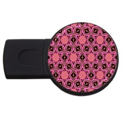 Background Colour Star Pink Flower Usb Flash Drive Round (2 Gb) by AnjaniArt