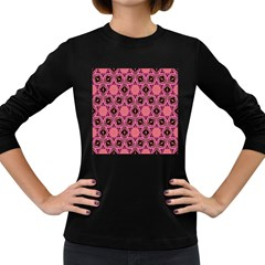 Background Colour Star Pink Flower Women s Long Sleeve Dark T Shirts by AnjaniArt