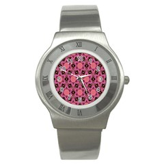 Background Colour Star Pink Flower Stainless Steel Watch by AnjaniArt
