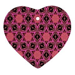 Background Colour Star Pink Flower Heart Ornament (two Sides) by AnjaniArt