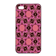 Background Colour Star Pink Flower Apple Iphone 4/4s Seamless Case (black) by AnjaniArt