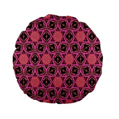 Background Colour Star Pink Flower Standard 15  Premium Flano Round Cushions by AnjaniArt