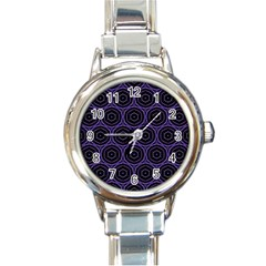 Background Colour Purple Circle Round Italian Charm Watch by AnjaniArt