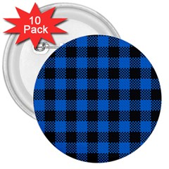 Black Blue Check Woven Fabric 3  Buttons (10 Pack)  by AnjaniArt
