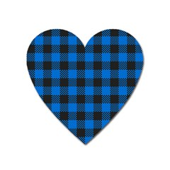 Black Blue Check Woven Fabric Heart Magnet by AnjaniArt