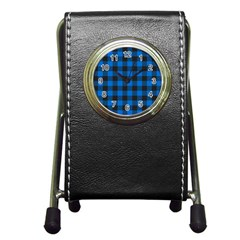 Black Blue Check Woven Fabric Pen Holder Desk Clocks by AnjaniArt