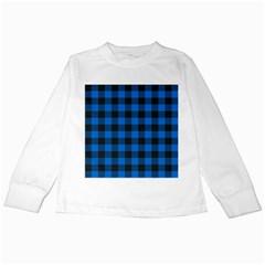 Black Blue Check Woven Fabric Kids Long Sleeve T Shirts by AnjaniArt