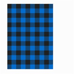 Black Blue Check Woven Fabric Large Garden Flag (two Sides) by AnjaniArt