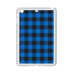 Black Blue Check Woven Fabric Ipad Mini 2 Enamel Coated Cases by AnjaniArt