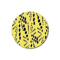 Circular Dot Selections Circle Yellow Rubber Round Coaster (4 Pack)  by AnjaniArt