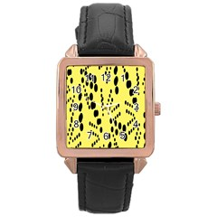 Circular Dot Selections Circle Yellow Rose Gold Leather Watch  by AnjaniArt