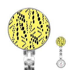 Circular Dot Selections Circle Yellow Stainless Steel Nurses Watch by AnjaniArt