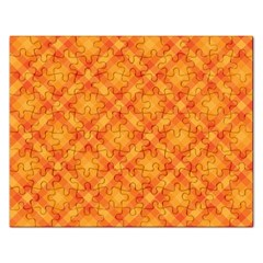 Clipart Orange Gingham Checkered Background Rectangular Jigsaw Puzzl by AnjaniArt