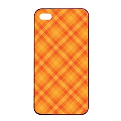 Clipart Orange Gingham Checkered Background Apple Iphone 4/4s Seamless Case (black) by AnjaniArt