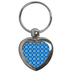 Blue Flower Clipart Floral Background Key Chains (heart)  by AnjaniArt