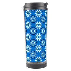 Blue Flower Clipart Floral Background Travel Tumbler by AnjaniArt