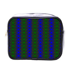 Diamond Alt Blue Green Woven Fabric Mini Toiletries Bags by AnjaniArt